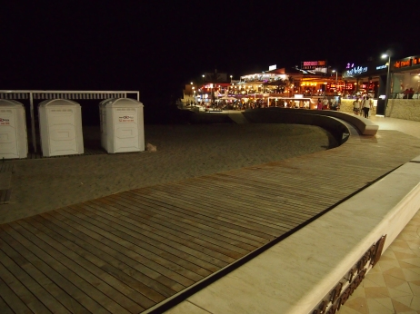 Accessible beach boardwalk and disabled toilets on the beach